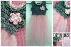 Crochet Tutu Dress with Flower by LoveyBuggies on Etsy, $30.00