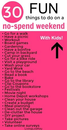 Are you looking for FUN things to do on a no-spend weekend at home? You will love these ideas! No-spend weekends aren't just fun but they also save you a lot of money. Enjoy these summer activities with friends, kids, or other couples. Things To Do When Bored, Things To Do At Home, Free Things To Do, Fun Things, Fun Stuff To Do At Home, Cheap Things, Summer Activities For Kids, Activities To Do, Couple Activities