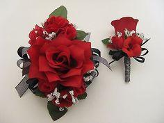Wedding Prom Metallic Black Red Rose Flower Wrist Corsage Or 2pc ...