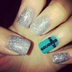 silver glitter, black rhinestone nail art