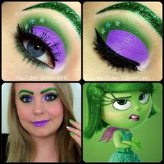 Inside out Disgust Makeup Look. Youtube channel: full.sc/SK3bIA