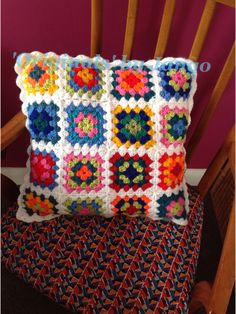 Granny square crocheted cushion made for Cafe Indie in Scunthorpe. Made to order £15