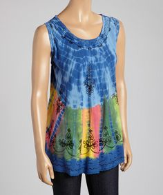 Loving this Blue & Yellow Embroidered Tie-Dye Sleeveless Top - Women on #zulily! #zulilyfinds