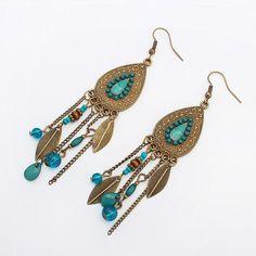 Bohemian Tassel Earrings Vintage Earrings Jewelry Fashion Boho Antique Gold color Colorful Beads Tassel Drop Earrings for Women