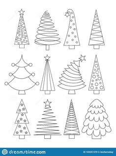 Illustration about Set of line art Christmas Trees. Outline collection of xmas sign. Stylized linear icons. Illustration of simple Christmas symbol. Illustration of icons, black, collection - 165251270