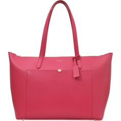 Smythson Panama EW Zip tote ($995) ❤ liked on Polyvore featuring bags, handbags, tote bags, pink, pink tote, pocket tote bag, pocket purse, red tote bag and pink handbags