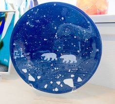 Fused glass - Plate with Polar Bear