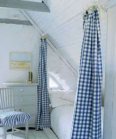 Finished Attic Ideas & Plans attic bedroom with gingham curtains - to separate twin beds from double Decor, Interior Design, Bedroom Decor, Home, Interior, Attic Bedrooms, Attic Bedroom, Gingham Curtains, Home Decor