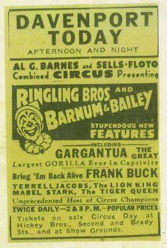 Frank Buck Circus announcement