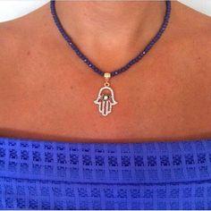Gold Color Purple Hamsa Hand Necklace Fatima by santorinijewellery