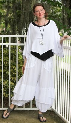 Oh My Gauze Cotton Lagenlook Guchi Pants Harem Layered Vanna Vest Grace Top #cottongauze