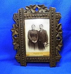 Vintage German Folk Art Wooden Picture Frame