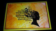Inspirational  card using blending inks and black embossing powder.