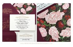 Custom Luxury Couture Wedding Invitation Design - Letterpress and Foil Stamping, Hand painted Fruit and Floral, Marsala - #CoutureWeddingInvitation - Featured in The Black Tie Bride. Calligraphy by Sally Wighkin. Marie Couture Designs.