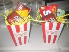 Popcorn box with snacks, gum, and a gift card to see a movie. I have done this before and it has always been a hit! You can even put a rental card, candy, a microwaveable popcorn bag, and a pop in there for a movie-night in idea.