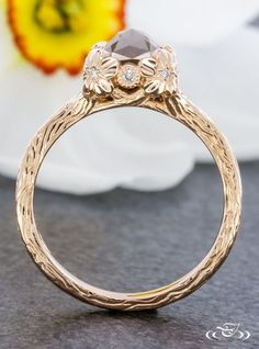 Floral Hand Carved Rose Gold Engagement Ring. Green Lake Jewelry 108152