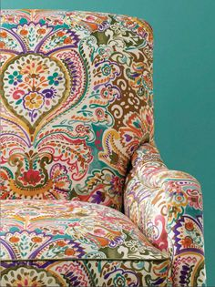 This would be the perfect fabric to recover my chair with my turquoise cabinet and teal/chartreuse/green rug. Colourful and fun. Lee Jofa Fabric Costes 537 for $184.80 per yard at InsideFabric + international shipping. Should I or should I not...