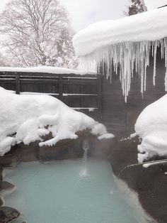Hot spring in Akita, Japan. I wonder if this is Nyuuto onsen. Planning a dip there soon.