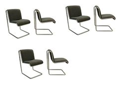 Thonet Industries Set of Six Chome Cantilevered Chairs 1970's. Look awesome and I imagine they are pretty comfy too