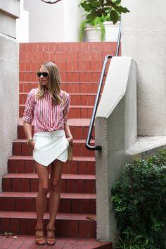 Shirt, skort, and handbag by Zara, shoes by Mark and James by Badgley and Mischka. (fashionjackson.com, July 18, 2013)