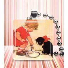 Sweet kitten girl glass tile necklace jewelry by jansjewelry for $11.40