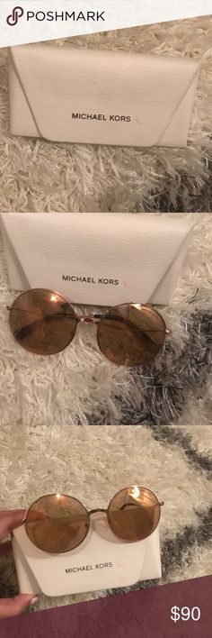 Michael Kors rose gold Retro Round Sunglasses These are round very retro looking rose gold sunglasses! I bought them from Macys and have only worn them once! Great condition no scratches! Michael Kors Accessories Sunglasses
