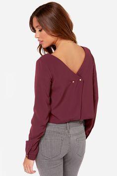 Bel Ami Burgundy Long Sleeve Top