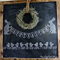 Easter Chalkboard - The Lilypad Cottage by elma Chalkboard Doodles, Blackboard Art, Chalkboard Writing, Kitchen Chalkboard, Chalkboard Drawings, Chalkboard Lettering, Chalkboard Designs, Chalkboard Paint, Chalkboard Ideas