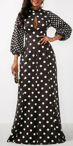 Polka Dot Print Keyhole Neckline Black Maxi Dress.
