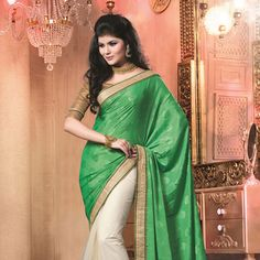 Green Faux Chiffon Jacquard and Net Saree with Blouse