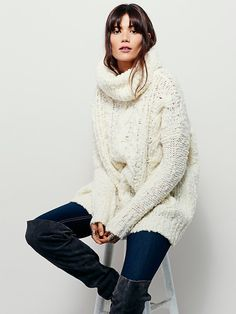Fletcher Cable Poncho | Classic cable knit wool sweater in an effortless, oversized fit with dolman style sleeves.  Statement cowl neck.