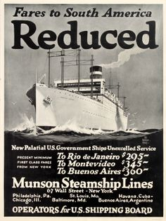 Munson Steamship Lines South America, 1920s - original vintage poster by Worden Wood listed on AntikBar.co.uk