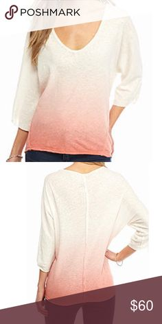 Free People Ombré Top NWT Featuring a trend-right ombre design, exaggerated scoop neck and three-quarter dolman sleeves. Pullover Scoop neck Three-quarter dolman sleeves Knit fabric Linen, cotton Machine washable Free People Tops