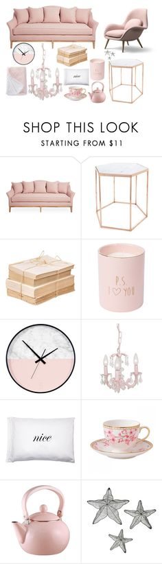 """rose gold home"" by jane-whitney-prokes ❤ liked on Polyvore featuring interior, interiors, interior design, home, home decor, interior decorating, Bloomingville, Kiki de Montparnasse, Nordstrom Rack and Wedgwood"
