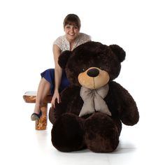 5 Foot Life Size Teddy Bear Rich Dark Brown Color Plush Stuffed Toy Brownie Cuddles. Extremely plush and soft with a big comfy cushioned bear body like a pillow. Features big brown life-like eyes, velvety soft teddy nose, and a sweet smile on his face. Measures 5 feet in human height & well-constructed with plump round BIG bear body parts. Filled with love in California and premium quality, non-clumping polyester fiberfill that is never ever recycled. Soft fur made from the best premium...