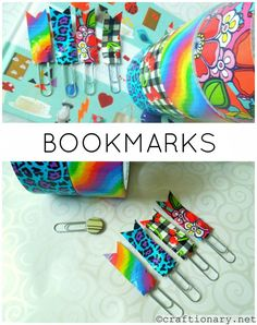 diy duct tape bookmarks - I should totally do this for my work binders to separate my sections - Crafting Tips Duct Tape Projects, Duck Tape Crafts, Craft Projects, Craft Ideas, Duct Tape Bookmarks, Diy Bookmarks, Homemade Bookmarks, Crafts To Sell, Easy Crafts