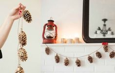 Sparkling Golden Pine Cone String, Candles and Lantern for Earthy Home Décor Pine Cone Art, Pine Cone Crafts, Wreath Crafts, Pine Cones, Diy Home Crafts, Decor Crafts, Crafts For Kids, Pumpkin Uses, Pine Cone Decorations