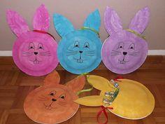 Osterhasen-Taschen aus Papptellern auf Facebook - Spiele und Anregungen fuer Kleinkinder