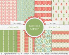 SEAWEED MINT & CORAL Digital Paper Pack Commercial by ClipArtBrat
