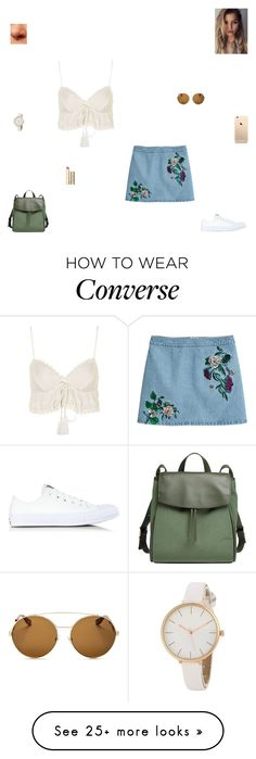 """almost there"" by synclairel on Polyvore featuring H&M, Topshop, Converse, Skagen, Stila, Givenchy, Spring, cute, casual and ootd"