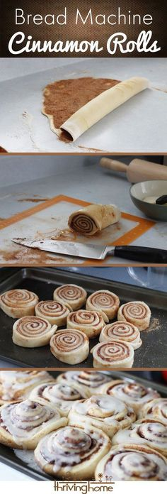 Homemade cinnamon rolls. Use the bread machine to make the dough and then simply roll them out for a delicious breakfast!
