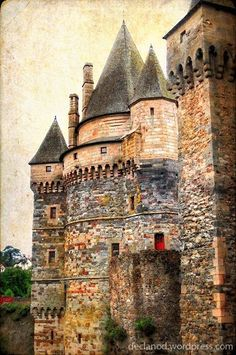 Chateau de Vitre, one of the most imposing castles in France. A medieval castle built of stone at the end of the 11th century by Baron Robert I. A Romanesque style doorway still survives in the castle to this day. * Vitre, France
