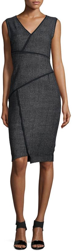 Elie Tahari Angela Sleeveless Sheath Dress W/Contrast Seams, Black