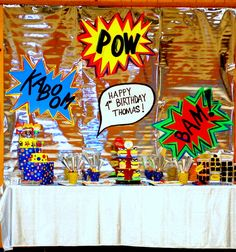 Cute party display set up for superhero party