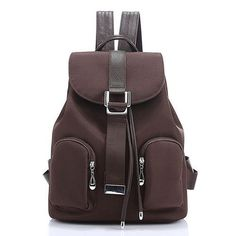 Classy Chic Simple Solid-Colored Large-Capacity High-Quality Oxford Canvas Waterproof Backpack 6 Colors