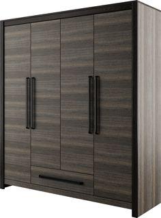 szafa czterodrzwiowa DENVER z funkcjonalną szufladą / DENVER four-door wardrobe with functional drawer #sypialnia #bedroom #mebledosypialni #bedroommfurniture #interiordesign #darkinteriors #darkfurniture #darkbedroom #meble #furniture #wardrobe #closet #szafa #drawer #mebledenver