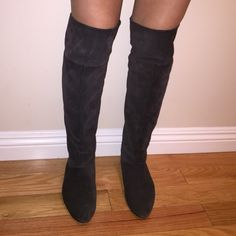 Bakers over the knee boots Women's dark grey over the knee boots. Could be worn in several ways- folded over or slouch style or pulled up and over the knees Bakers Shoes Over the Knee Boots