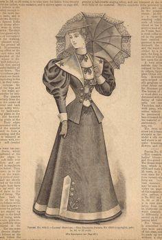 1890s Fashion illustration Victorian Ladies Sailor Dress Parasol Vintage 1894 - Great to Frame or Collage