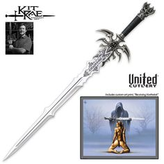 Kit Rae - Vorthelok Fantasy Sword w/ Artwork Fantasy Sword, Fantasy Weapons, Swords And Daggers, Knives And Swords, Kit Rae, United Cutlery, Cool Swords, Sword Design, Battle Axe