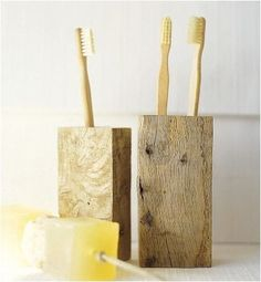 100% Recycled Oak Block Toothbrush Holder: Remodelista